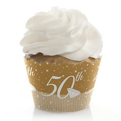 50th Anniversary - Wedding Anniversary Cupcake Wrappers | BigDotOfHappiness.com