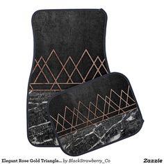 Elegant Rose Gold Triangles & Black & White Marble Car Floor Mat
