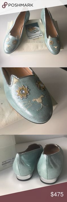 Charlotte Olympia Kitty Flats FREE SHIPPING PRICE FIRM UNLESS BUNDLED. 10% off bundles. I purchased them from Nordstrom online in hopes they would fit me but unfortunately they didn't. States to be EU 38 (us 8) but they may fit more like 7 or 7.5. Fall 2016 Charlotte Olympia collection. They are gorgeous metallic silver blue with green undertones. leather suede with kitty to front of shoes. Includes box, shoes, dust bag, and Kitty Polaroid. Save on taxes and shipping! Free shipping with this…