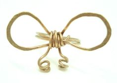 Bow ring-Gold bow ring-Gold wire ring-Handmade bow ring-Hand hammered gold ring-Gold ring-Handmade gold ring-Handmade jewelry-Greek jewelry