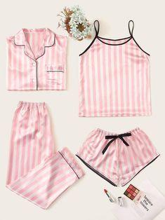 Satin Pyjama Set, Satin Pajamas, Pyjamas, Pajama Set, Pjs, Sleepwear Women, Lingerie Sleepwear, Nightwear, Pijamas Victoria Secrets