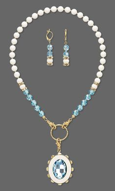 Single-Strand Necklace and Earring Set with SWAROVSKI ELEMENTS, Miracle Mount™ Setting and Seed Beads