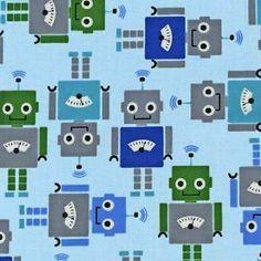Robert Kaufman Funbots Robots Royal - Fat Quarter