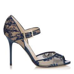@jimmychooltd Lace Navy Lace Peep Toe Sandals