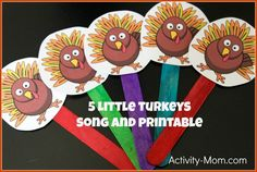 5 Little Turkeys Song & Puppets (free; from The Activity Mom) Thanksgiving Songs, Thanksgiving Activities For Kids, Printable Activities For Kids, Autumn Activities, Toddler Activities, Toddler Learning, Preschool Music, Preschool Activities, Teaching Music