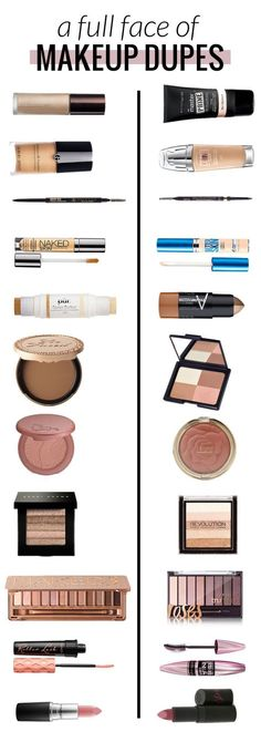 A face full of makeup dupes! High end vs. drugstore makeup. Can you believe the high end products total to $390 and the drugstore totals to $94?! Wow!! #makeup #beauty #dupes #beautyblogger