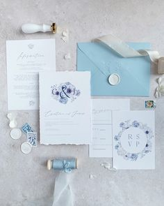 Blue Wedding invitations with deckled edge paper and whiter wax seal - anemone and hydrangea watercolour illustrations Pastel Wedding Invitations, Watercolor Invitations, Wedding Invitation Suite, Wedding Stationery, Watercolor Illustration, Watercolour, Blue Envelopes, Wax Seals, Hydrangea