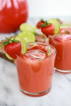 Sparkling Strawberry Basil Limeade with Tequila Soaked Strawberry-Lime Ice