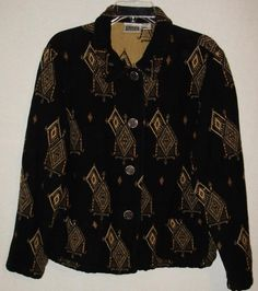 Womens blazer button front shirt-Chicos size 2-Black & Gold-Free Shipping to…