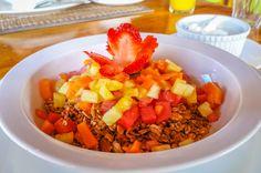Diced fruit over granola and yogourt on the side Agua Dulce Resort Playa Preciosa, near Puerto Jimenez Osa Peninsula, Costa Rica #fun #vacation #food