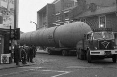 Past Times: Large loads on the way down Castle Street Truck Transport, Mode Of Transport, Heavy Duty Trucks, Heavy Truck, Classic Trucks, Classic Cars, Old Lorries, Old Commercials, Industrial Architecture