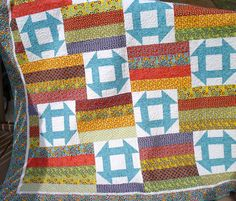 Twin Bed Quilt Patchwork with Churn Dash Block by NeedleLove2