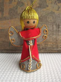 Vintage Christmas Decoration Sale Angel Christmas Tree Ornament Golden Hair Red Robe