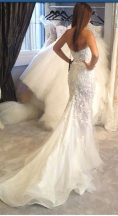 White wedding dress with open back.. Click on the pic for more #outfits