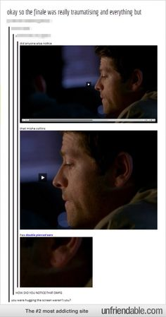 This is the most important part of the finale...the fact that someone noticed Misha Collins has double pierced ears.