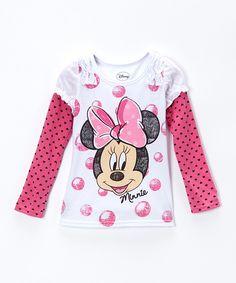 White & Pink Minnie Polka Dot Layered Tee - Girls by Minnie Mouse #zulily #zulilyfinds