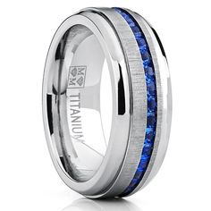 Men's Titanium Wedding Band Engagement Ring W/ Blue Simulated Sapphire Cubic Zirconia Princess CZ 8