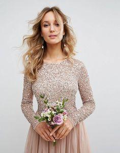 Sequin gold boho chic wedding dress