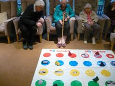 Games (Bean bag twister famous landmarks memory game, Stick pictures of famous landmarks on each colour, then get in residents to throw the bean bag onto a colour whatever it lands on we discuss the place in question. Games For Elderly, Elderly Activities, Senior Activities, Work Activities, Activity Games, Spring Activities, Elderly Crafts, Music Therapy Activities, Cognitive Activities