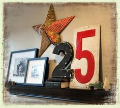 "Christmas Decor idea! Like the ""25"" in the photo! Need a floating shelf to make a feature ""seasonal"" wall"