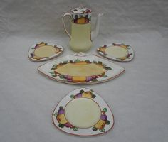 A Burleigh Ware part sandwich and coffee set, designed by Charlotte Rhead in the 4102 patte Coffee Set, 1920s, Sandwiches, Tube, Charlotte, September, Dish, Leaves, Fan
