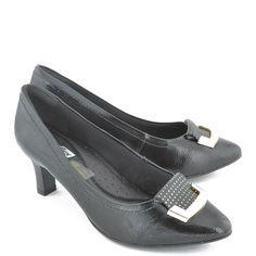 14053932b2 Sapato Comfortflex Verniz   Napa Preto - Preto. Sapatos Femininos ...