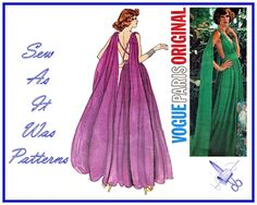 1970s FF Uncut Vogue Paris Original 1135 Emanuel Ungaro Evening Gown Dress Grecian Open Back Drape Vintage Sewing Pattern Size 14 Bust 36 from SewAsItWasPatterns on Etsy Studio