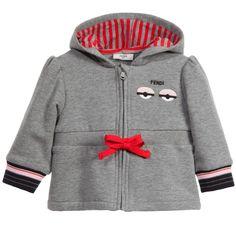 Baby Girls Cotton Grey Zip Up Monster Jacket, Fendi, Girl