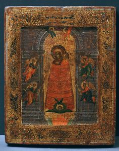 on of the Mother of God, the Enlightener of Minds [c. 17th C.] The icon is with kovcheg. Икона Божией Матери «Прибавление ума».