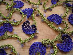 lariat flower necklace crochet night blue by PashaBodrum on Etsy