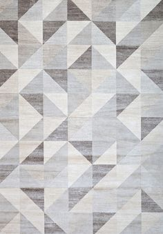Silver Gray and White Modern Geometric Triangle Pattern Rug from Woodwaves