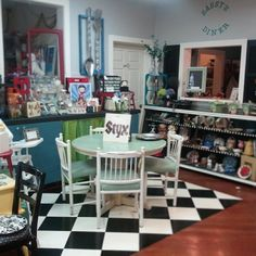 Sassy Frass Company in Anacortes, WA.  Checkered floor, retro look, 50's diner style, Betty boop, coca cola, cafe table