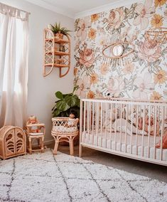 Excellent baby nursery tips are offered on our web pages. Read more and you wont be sorry you did. Chic Nursery, Nursery Room, Nursery Decor, Room Decor, Nursery Ideas, Themed Nursery, Floral Nursery, Wall Paper Nursery, Peach Baby Nursery