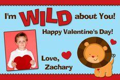 Custom Valentine's Day Photo Card - Wild About You Lion - You Print | PixelPerfectBoutique - Digital Art on ArtFire