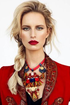 Bold lip + loose braid.