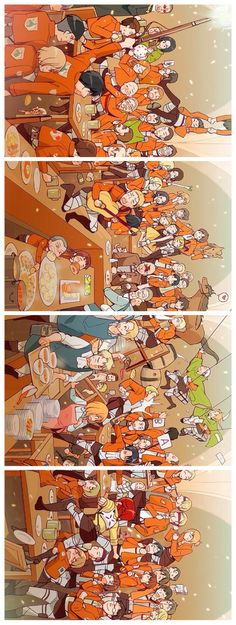 Attack on Titan ~~ Pretty much everybody going crazy in the Mess Hall. Funny stuff! LOOK AT HANJI AND LEVI!