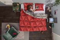 pościel origami czerwona 200x 220cm z wysokiej jakości bawełny perkalowej