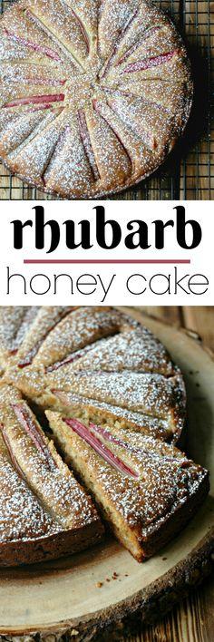 Gluten Free Rhubarb Honey Cake Dessert Recipe Fluffy, silky sweet honey cake with a starburst of tart rhubarb! Rhubarb Recipes, Gf Recipes, Brunch Recipes, Real Food Recipes, Baking Recipes, Brunch Ideas, Free Recipes, Brunch Food, Summer Recipes
