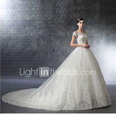 Salón Catedral Satén Tul Vestido de novia con Cristal Cuentas Apliques Volante por LAN TING BRIDE® 2017 - $3116.05
