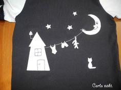 Haus mit Mond und Wäscheleine  Applikationsvorlage kostenlos Applique pattern Freebie free Clothes line Carla näht