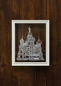 """Thanks for the kind words! ★★★★★ """"Looks perfect! Thanks!"""" Elizabeth http://etsy.me/2AD0Jli #etsy #art #mixedmedia #housewarming #cathedral #church #redsquare #moscow #russia #pokrovsky"""