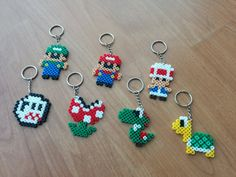 Tecla de Super Mario Bros - Hama Perler Beads - Reino Unido libre entrega de anillos