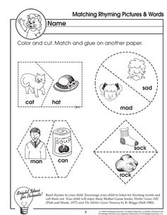 Matching Rhyming Pictures and Words – Rhyming Worksheet for Preschoolers - JumpStart