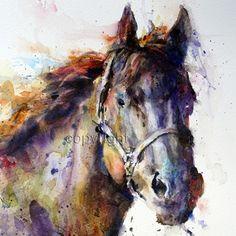 HORSE  Colorful Ceramic Tile By Dean Crouser por DeanCrouserArt