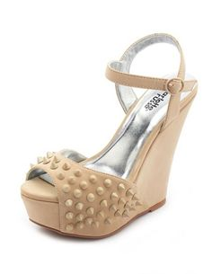 Tonal Spike Nubuck Wedge Sandal: Charlotte Russe