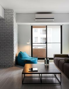 Minimalist Modern Small Apartment in Impressive Appearance: Stylish Apartment Z Design  With Blue Longue Sofa Also Cone Stand Lamp And Woode...