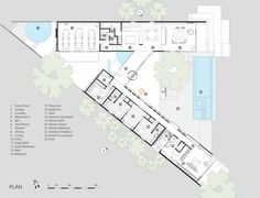 Image 18 of 19 from gallery of Cascading Creek House & Bercy Chen Studio. Photograph by Bercy Chen Studio Container Home Designs, Container House Plans, Courtyard Pool, Courtyard House Plans, House Floor Plans, The Plan, How To Plan, Houses In Austin, Triangle House