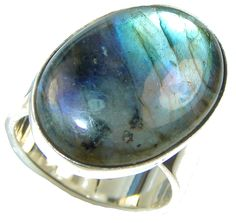 $36.95 Italy Collection  Labradorite Sterling Silver Ring s. 7 1/4 at www.SilverRushStyle.com #ring #handmade #jewelry #silver #labradorite