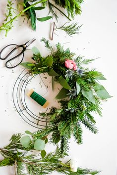 Wreath Wonderland \\ DIY Wreath & A Recap Of The Holiday Wreath Workshop Christmas Flowers, Christmas Love, Christmas Decorations, Christmas Holidays, Christmas Ideas, Merry Christmas, Holiday Wreaths, Holiday Crafts, Fresh Wreath