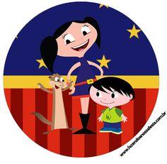 Latinha e Toppers de docinhos Show da Luna Azul e Vermelho